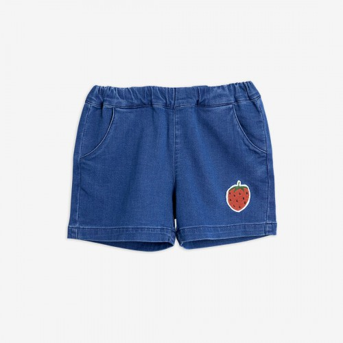 Denim Shorts with Strawberry Patch
