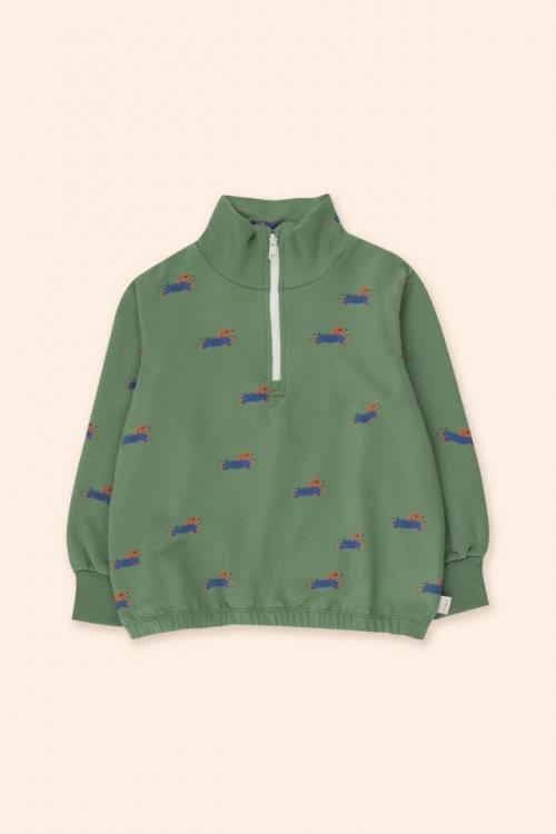 Mockneck Sweatshirt in Green and Iris Blue