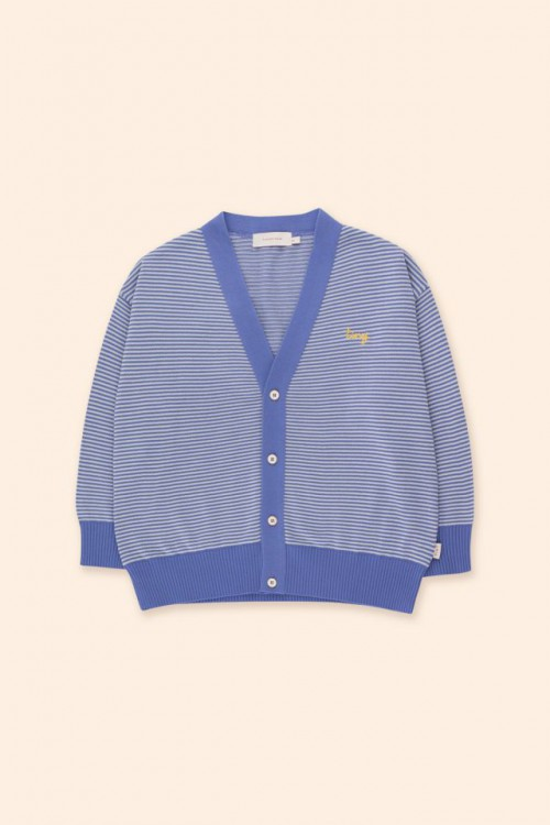 Cardigan in Iris Blue and Pale Grey